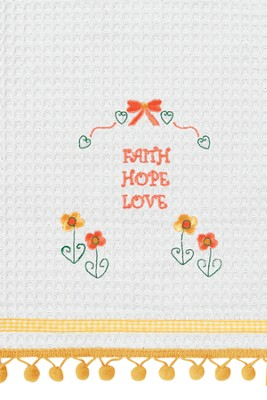 Faith, Hope, Love Embroidered Kitchen Towel   -
