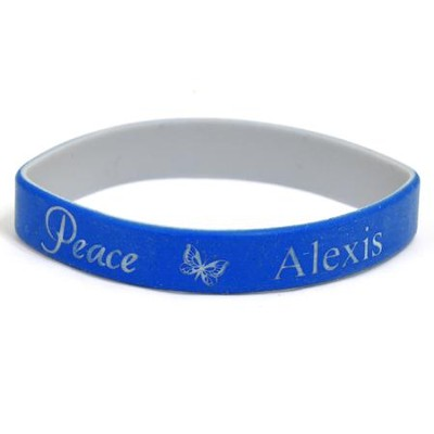Personalized, Peace Wristband, With Name and Butterfly, Blue  -