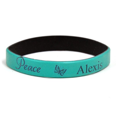 Personalized, Peace Wristband, With Name and Butterfly, Teal  -