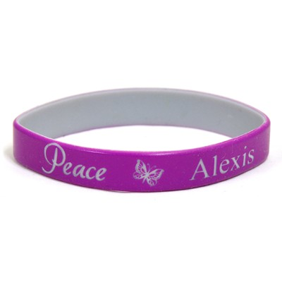 Personalized, Peace Wristband, With Name and Butterfly, Purple  -