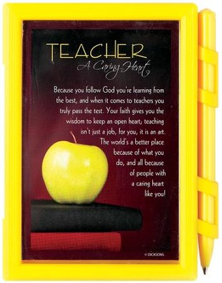 Teacher A Caring Heart Note Pad with Pen  -