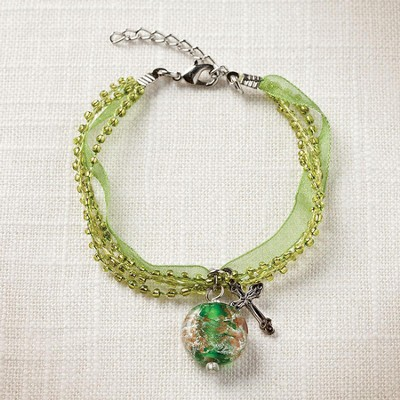 Living Water Cross Bracelet, Green  -