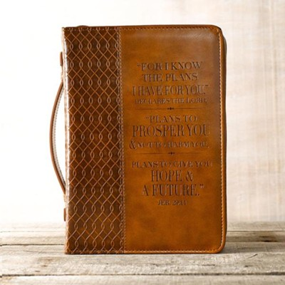 For I Know the Plans, Bible Cover, Brown, Medium  -