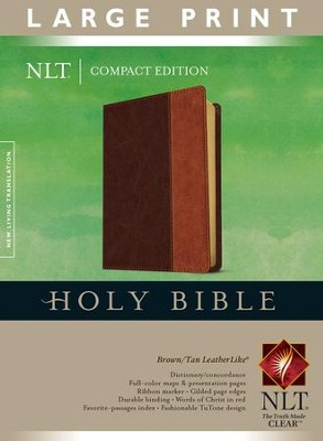 NLT Large Print Compact Bible--Soft leather-look, brown/tan  -