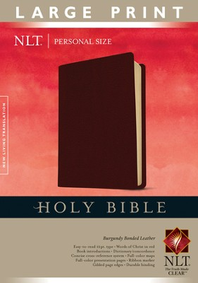 NLT Personal Size Bible - Large Print Bonded Burgundy  -