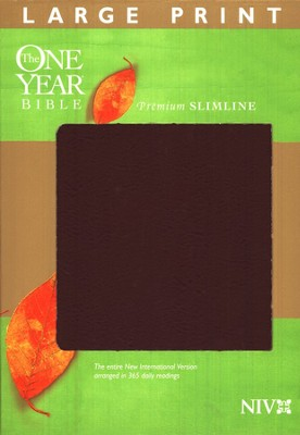 The NIV One Year Bible Premium Slimline - Large Print, Bonded Burgundy 1984  -