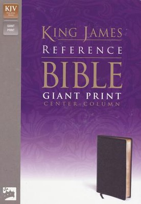 KJV Giant Print, Center-Column Reference, premium leather look black  -
