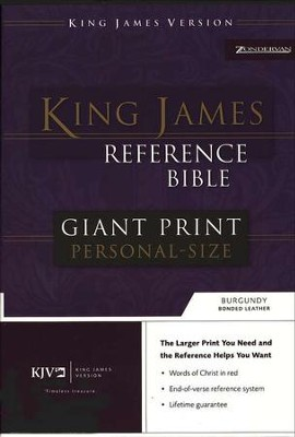 KJV Giant Print Reference Personal Size, bonded burgundy - Slightly Imperfect  -