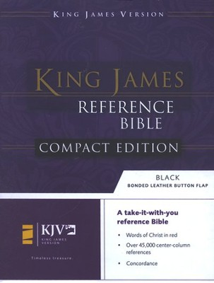 KJV Compact Reference Bible, Button Flap, Bonded Black   - Imperfectly Imprinted Bibles  -