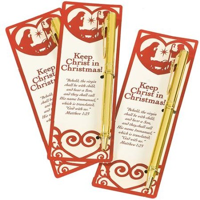 Keep Christ in Christmas Bookmark and Pen Set, Pack of 12   -