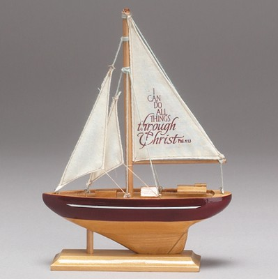 I Can Do All Things, Wood Sailboat, Small   -