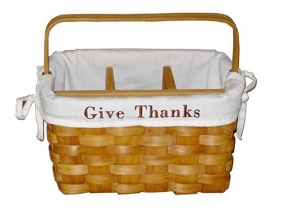 Give Thanks Utility Basket, White Lining  -