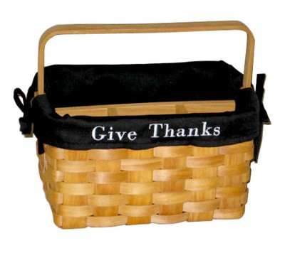 Give Thanks Utility Basket, Black Lining  -