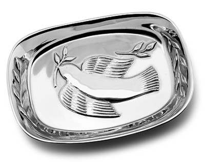 Dove And Olive Branches, Metal Bread Tray   -
