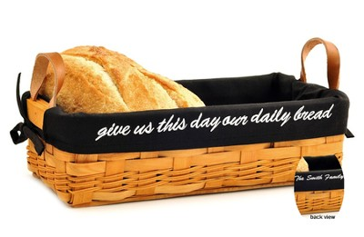 Personalized, Give Us This Day Our Daily Bread Loaf  Basket, Black Lining  -