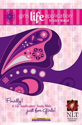 NLT Girls Life Application Study Bible, Glittery Grape Butterfly  -