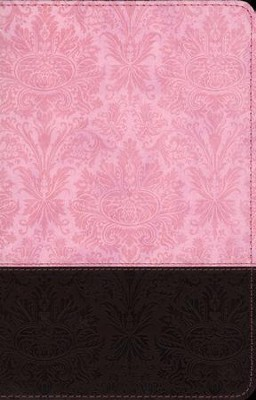 NLT Personal Size Large Print, TuTone Pink and Brown Imitation Leather  -