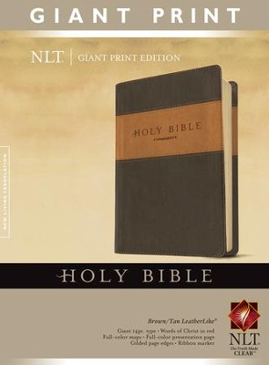 NLT Holy Bible, Giant Print TuTone Brown and Tan Imitation Leather  -