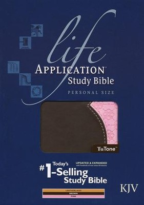 KJV Life Application Study Bible, Personal Size, TuTone Brown and Pink Imitation Leather  -