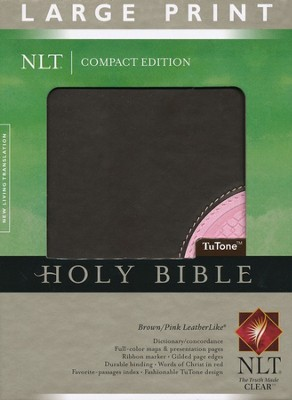 NLT Large Print Compact Edition, TuTone Brown and Pink Imitation Leather  -