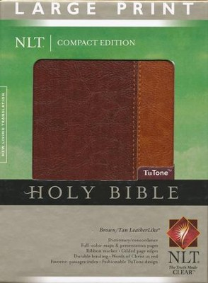 NLT Large Print Compact Edition, Brown and Tan Imitation  Leather, Thumb-Indexed  -