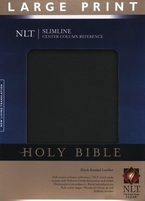NLT Slimline Reference Bible, Large Print Bonded Black Leather  -