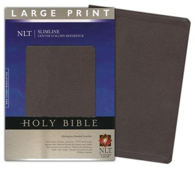 NLT Slimline Reference Bible, Large Print Bonded Mahogany Leather  -