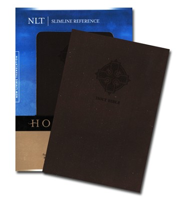 NLT Slimline Reference Bible, Leatherlike Umber Cross  -