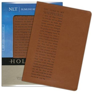 NLT Slimline Reference Bible, Leatherlike Chestnut Psalm 23  -     By: Tyndale