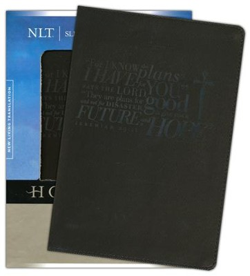 NLT Slimline Reference Bible, Leatherlike Ebony Jeremiah 29:11  -     By: Tyndale