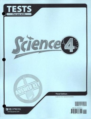 BJU Science Tests Answer Key Grade 4 (Third Edition)    -