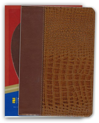 NIV Life Application Study Bible, Revised, European bonded leather, British tan/Alligator 1984, Case of 12  -