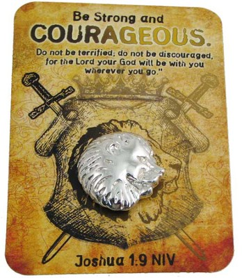 Be Strong & Courageous, Lapel Pin On Keepsake Card  -