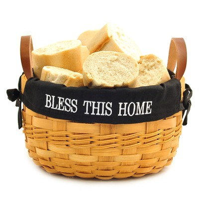 Bless This Home Bowl Basket, Black Lining  -