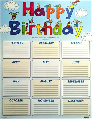 Kids' Birthday Chart, Psalm 129:8   -