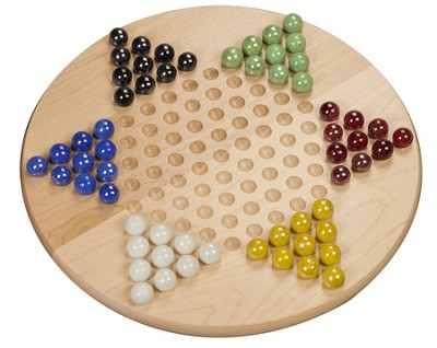 Chinese Checkers, Wooden Board with Marbles   -