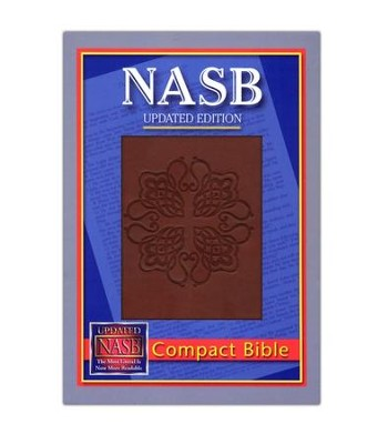 NASB Compact Leatherflex Bible, Burgundy with Greek Cross  -