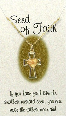 Mustard Seed Cross with Heart Pendant  -