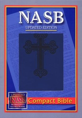NASB Compact Leatherflex Bible, Blue with Cross  -