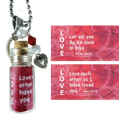 Love, Love Each Other, Message In A Bottle Necklace  -