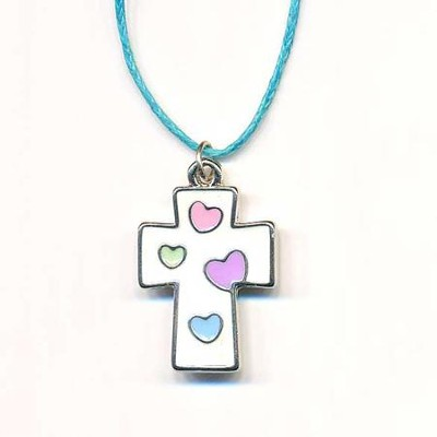Kids' Cross Pendant, White with Colored Hearts  -