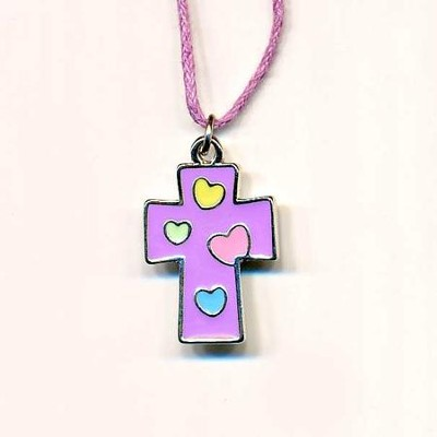 Kids' Cross Pendant, Purple with Colored Hearts  -