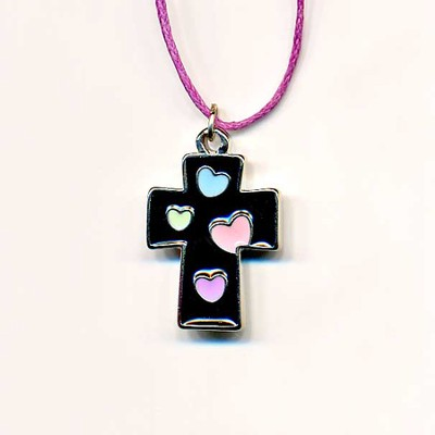 Kids Heart Pendant, Black with Colored Hearts  -