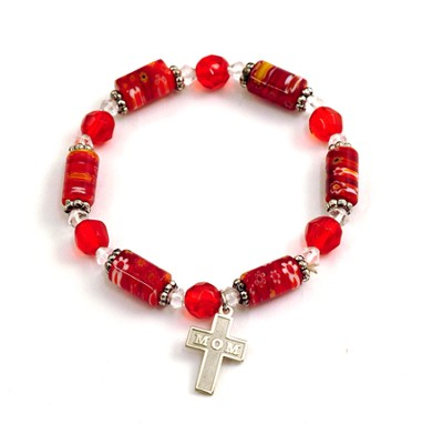 Bead Bracelet with Cross, Mom  -