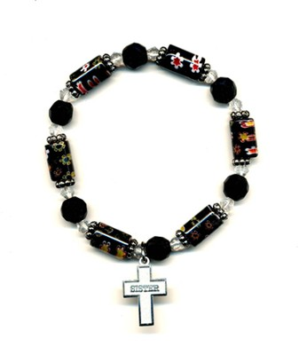 Bead Bracelet with Cross, Sister  -