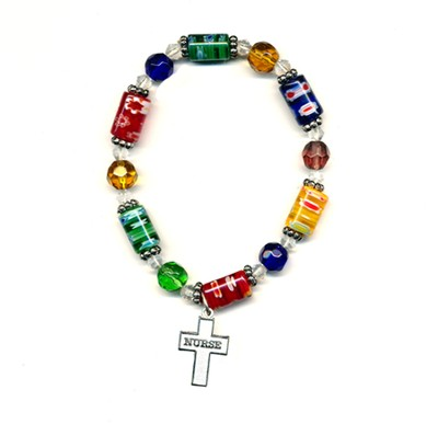 Bead Bracelet with Cross, Nurse  -
