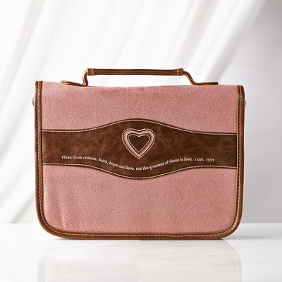 Heart Bible Cover, Suede Look, Dusty Pink and Brown, Medium  -