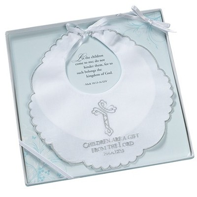 Christening Bib, Children Are a Gift, White   -