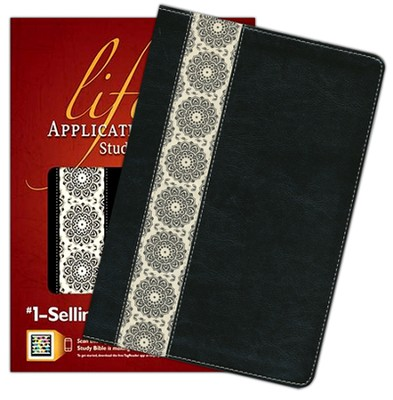 NIV Life Application Study Bible, TuTone Black/Ivory Floral Fabric Leatherlike  -