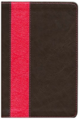 NIV Life Application Study Bible Personal Size TuTone Dark Brown/Coral LeatherLike  -